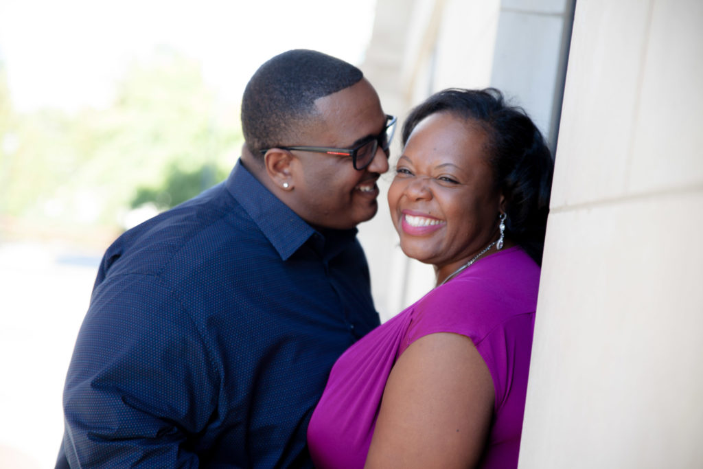 Atlantic station engagement session at the Millennium Gate Museum