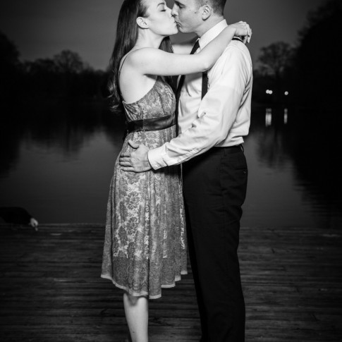 Engagement session at Piedmont Park Atlanta couple kissing on dock