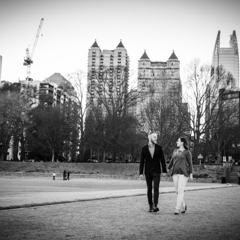 Engagement session with midtown atlanta as background