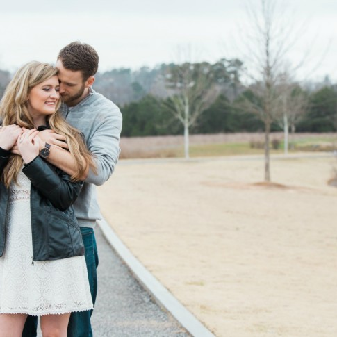Garrard landing park engagement session with couple hugging looking at each other