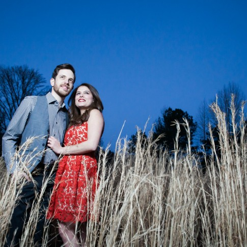 McDaniel farm park engagement session couple standing near all grass