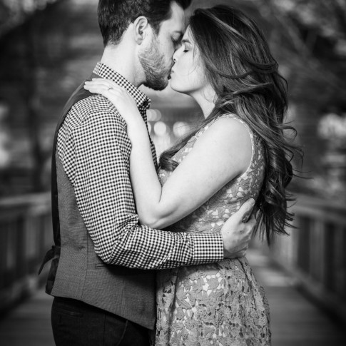 McDaniel farm park engagement session on bride with couple kissing