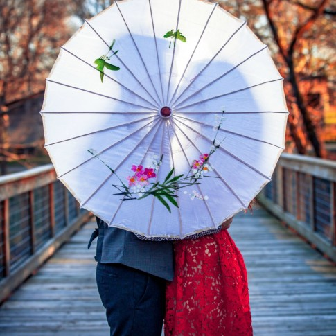 McDaniel farm park engagement session with chinese umbrella