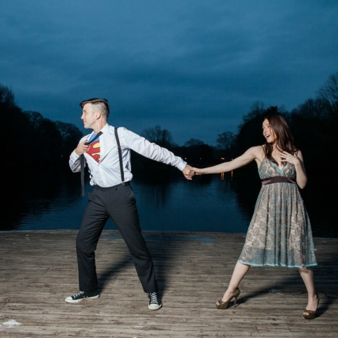 Piedmont Park Atlanta engagement session couple with costume