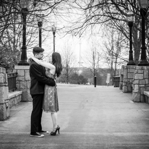 Piedmont Park Atlanta engagement session on bridge