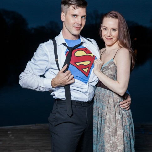 Piedmont Park Atlanta engagement session with superman custome