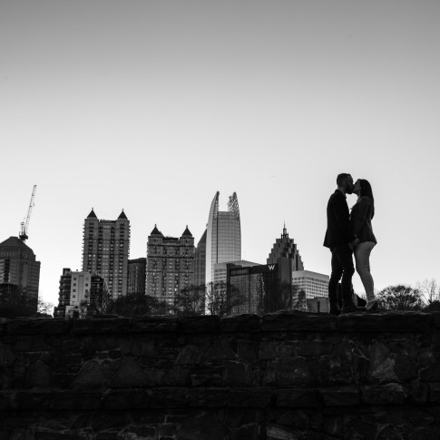 Piedmont Park Atlanta overlooking Midtown Atlanta in black and white picture