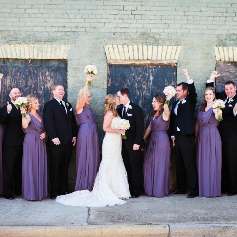 Wedding bridal party posing happily at Acworth GA