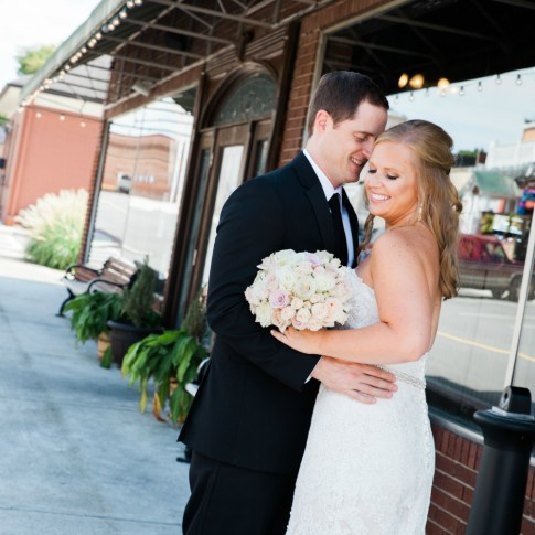 Wedding couple at downtown Acworth