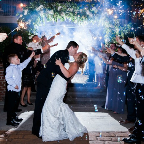 Wedding exit with bubble and sparklers