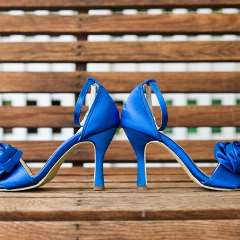 Wedding shoes on bench