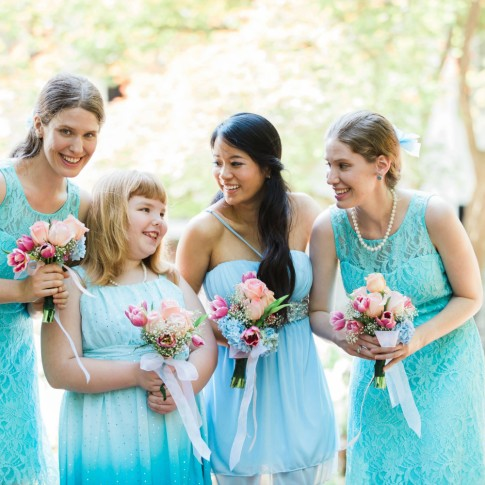 happy bridesmaid with maid of honor