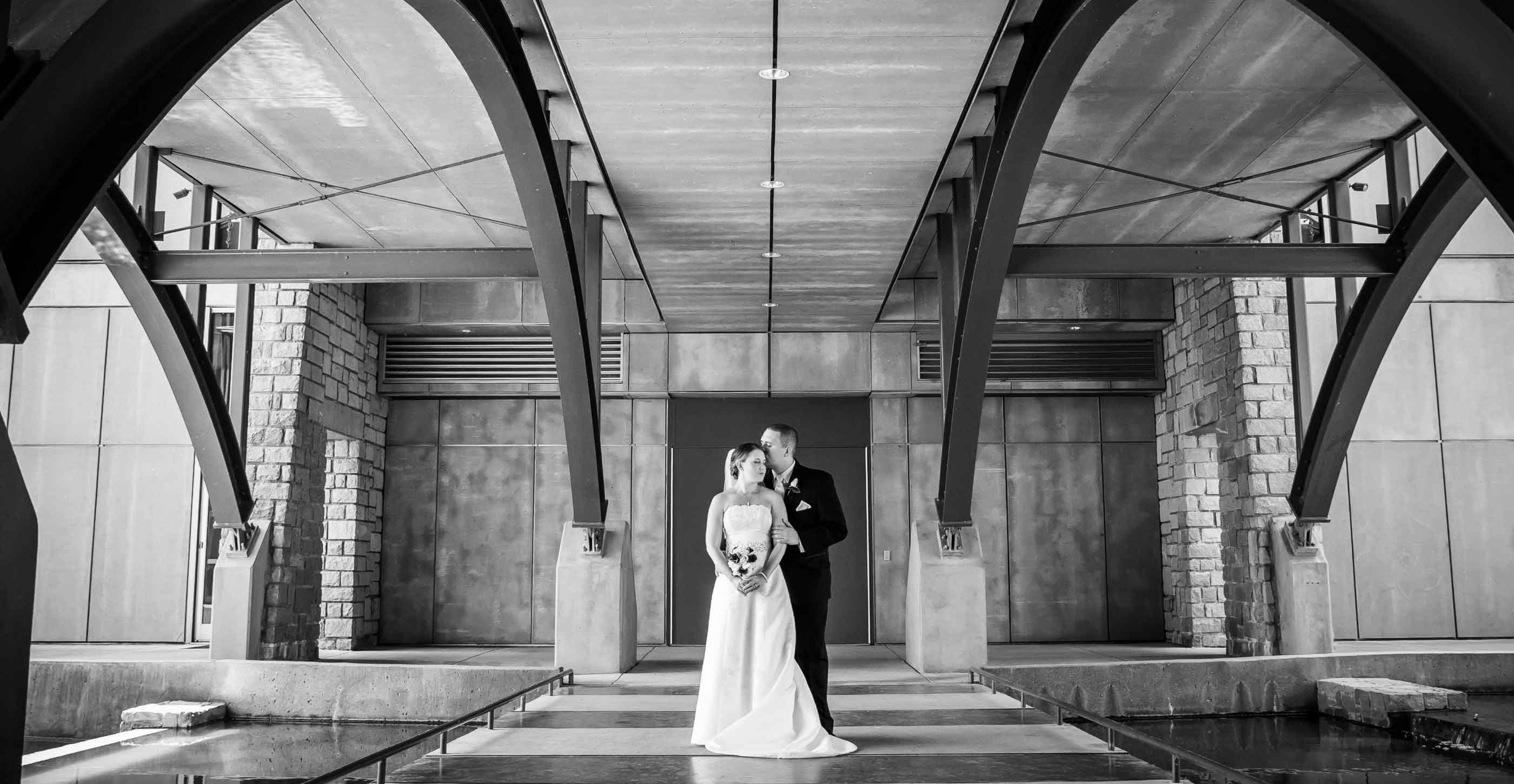 Atlanta wedding photographer bride and groom portriat on the bridge