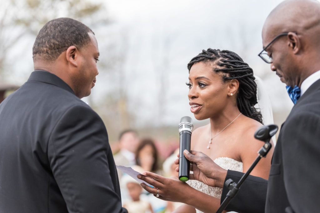 Bride crying during ceremony at Foxhall Resort GA