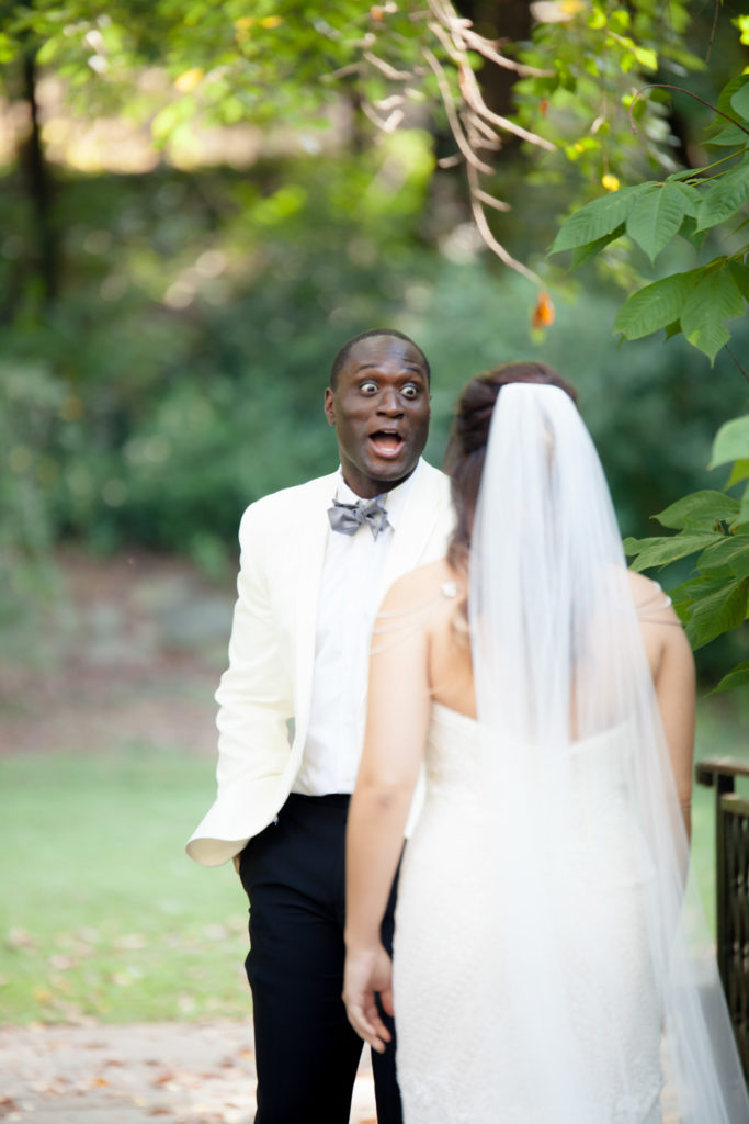 Cator Woolford Gardens first look groom expression