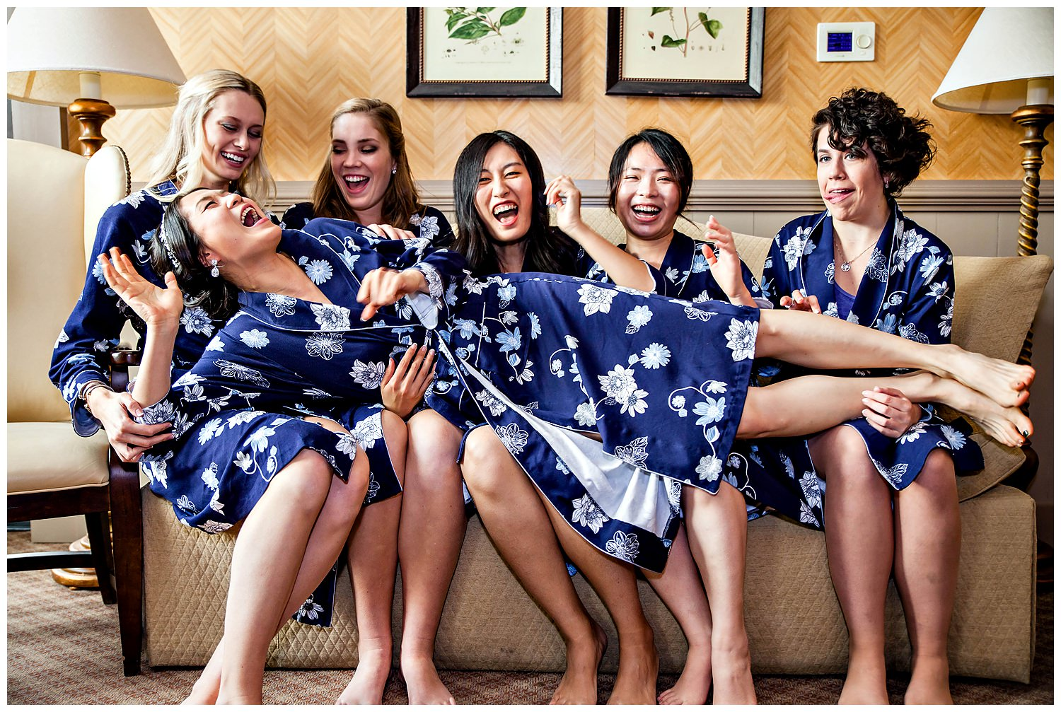 Bride with Bridesmaids robe shot